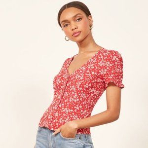 Reformation Red White Allegra Floral Print Blouse